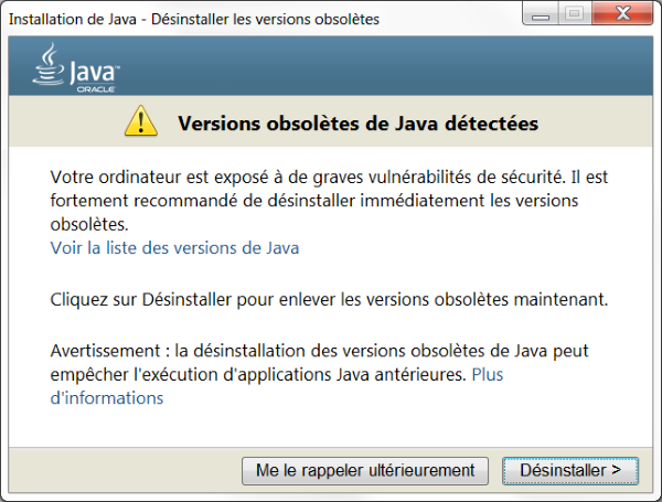 Désinstallation Oracle Java